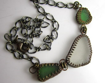 Strand from the Sea - SoCal Sea Glass in Brass Necklace