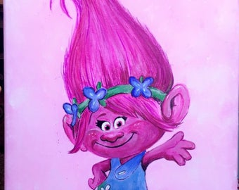 A3 Canvas Original Acrylic Painting of Poppy from Trolls