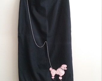 Mode Merr Pink Poodle Rockabilly Pinup Black Pencil Skirt Medium