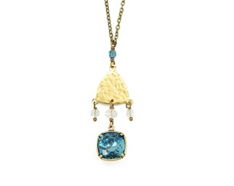Indi Sunrise EDGY PETAL Indicolite SWAROVSKI Crystal Antique Raw Brass