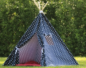 Kids Teepee Play Tent, Available in Two Sizes, Navy Polka Dot with Window, Childrens Tepee, Kids Playhouse, Ready to Ship, Fully Assembled