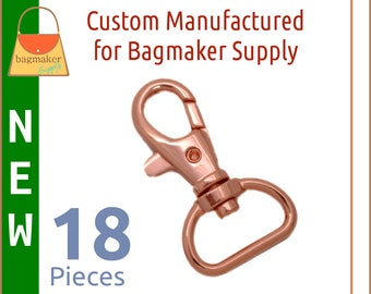 3/4 Inch Trigger Style Snap Hooks Rose Gold / Copper Finish, 18 Pack, Purse Clips, Handbag Bag Making Hardware, SNP-AA144