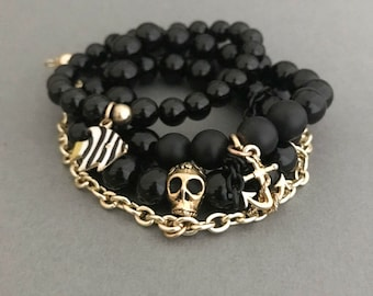 Summer Black & Gold Bracelets, Hemingway Gold 3 Stack, Anchor Charm Bracelet, Gifts for Her, Gemstone Jewelry, Nautical Jewelry