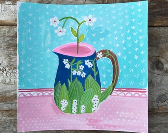 Original Watercolor Gouache Painting of a Vintage Pitcher