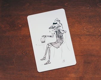 Skeleton Witch - card size print