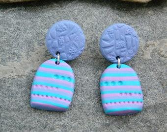 Polymer clay earrings / Handmade Earrings / Violet Turquoise Pink Earrings / Everyday Earrings / Gift for Her