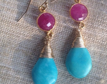Turquoise and Pink Sapphire Gold Earrings