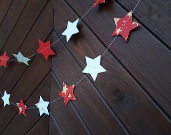 "Christmas 2"" or 3"" star garland, paper garland, Wedding decor, Party decor, Paper string decor"