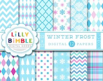Winter Frost digital scrapbook papers ice blue, powder blue, purple, lavender, snowflakes Instant Download paper