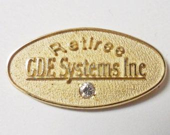 VINTAGE - Gold filled Diamond General Dynamics RETIREE Lapel Pin