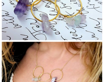 Modern Necklace, Raw Gemstone Necklace, Fluorite Necklace, Wedding, Contemporary Gold Necklace, Geometric, Purple Gold Necklace, Bridal