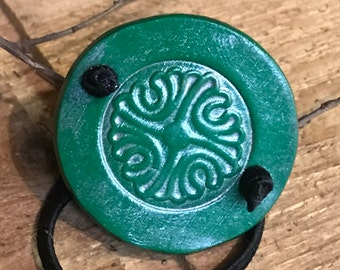 Celtic leather ponytail holder - Celtic knot - leather hair wrap - leather hair accessories - Ponytail accessories - Viking hair tie
