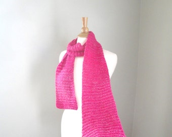 Bright Pink Metallic Scarf with Glitter, Hand Knit, Long Wrap Scarf, Cotton Blend, Summer Fashion, Lacy Stitch, Women Teen Girls