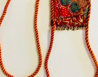 Kumihimo Fiber tassel/bib necklace