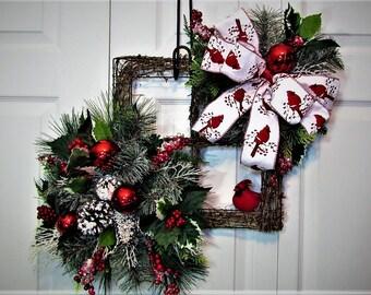 Christmas Wreath, Grapevine Wreath, Home Decor, Cardinal Wreath, Holiday Wreath, Winter Wreath, Wreath, Door Decoration, Grapevine, Holiday