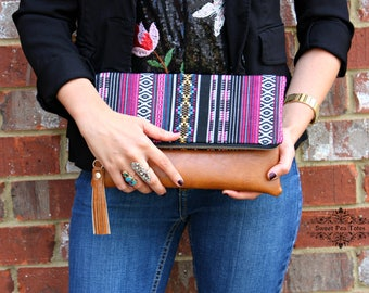 Foldover Clutch Ethnic Bohemian tribal Clutch
