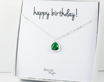 Tiny May Birthstone Silver Necklace, Emerald Necklace, Silver Necklace, May Birthday Gift, Bridesmaid Jewelry, Gifts Under 20