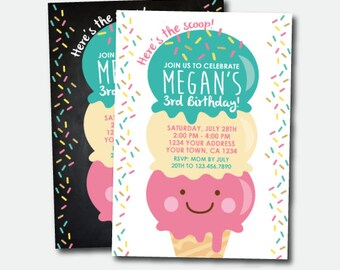 Ice Cream Birthday Invitation, Ice Cream Party, Summer Birthday Party, Sprinkles Invite, Personalized Invitation, 2 options