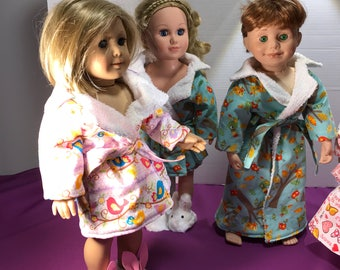 """Bath robe / house coat for 18"""" dolls such as American Girl, Maplelea, My Life, ets"""