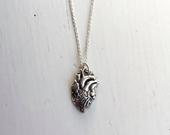 Anatomically correct heart necklace, sterling silver heart necklace, cardiac surgeon gift, organ necklace, jewelry for charity