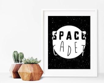Space Cadet Black & White Digital Download | 8x10 to 16x20 Printable | Dorm Decor | Nursery Art | Wall Art Print