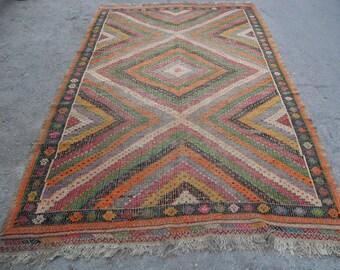 kilim rug free shipping VINTAGE TURKİSH afyon cecim kilim Anatolian handwoven kilim rug decorative kilim - SİZE :
