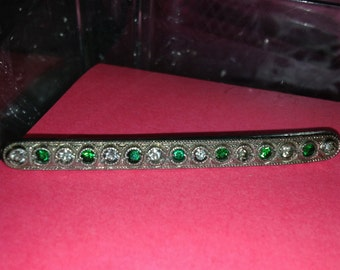 Ornate Victorian Bar Brooch ~ Deep Green and Clear Rhinestones ~ Handwritten Date on Back August 15, 1923