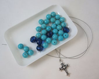 DIY Prayer Bead Kit - Turquoise River Stone and Dark Aqua Fire-Polished Glass