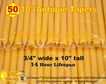 Organic Beeswax Tapers, 50 Antique Beeswax Candles, Bulk Beeswax Tapers, 10 Inch Beeswax Tapers, Wedding Candles, Party Candles
