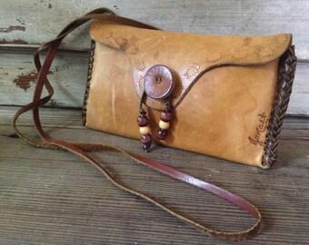 Small Crossbody Leather Handbag, Rustic Artisan Tooled Leather Bag