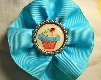 Aqua Swirl Ribbon Hair and Hat Clip with Cupcake Bottlecap Center