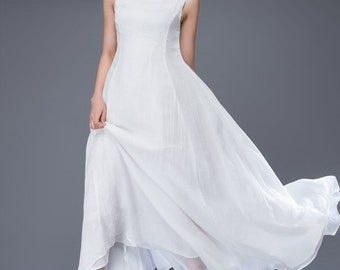 wedding dress, bridesmaid dress, Chiffon Dress, white dress, womens dresses, maxi dress, long white dress, white prom dress, dress  C879