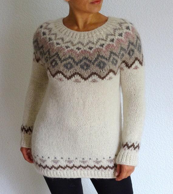 Fair Nordic Knitting Knitted Sweater Knit Alpaca Norwegian Sweater