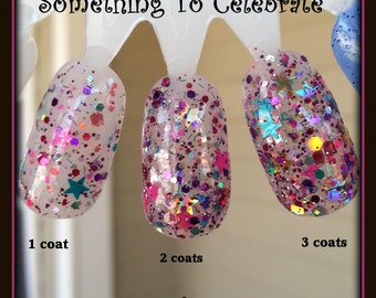 Something To Celebrate ~ Holographic Glitter Mix with Stars in Clear Sheer Pink Tint Jelly Nail Polish Base