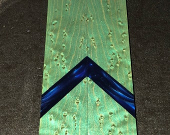 Stabilized Dyed Birdseye Maple Burl Knife Scales w/ Resin E-194