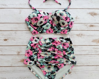 Bustier Bikini Swimsuit - Vintage Style High Waisted Ruched Pin-up Retro Style Swimwear - Pink Mint Black White Floral Print Bathing Suit