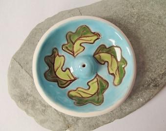 Handmade Small Ceramic Pottery Oak Leaf Bowl Incense Burner - Incense Holder - Ash Catcher - Blue Green