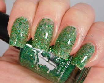 Matcha Latte *with optional scent* - custom green glitter topper nail polish