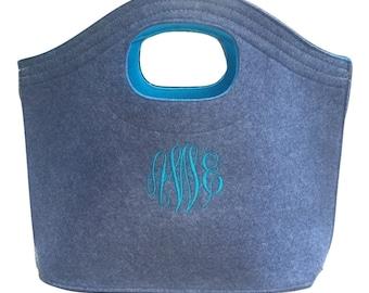 Felt Tote Bag, Turquoise