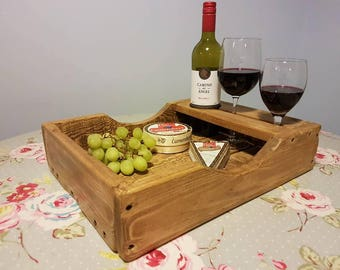 Rustic Tray - Wine Serving Tray - Wine And Cheese Tray - Carrier - Handmade
