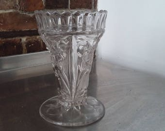 Large Vintage Pressed Glass Vase 195 mm