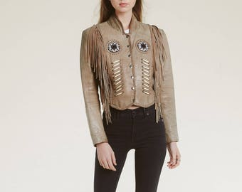 sand leather native jacket / beadwork / fringe / statement/ cropped