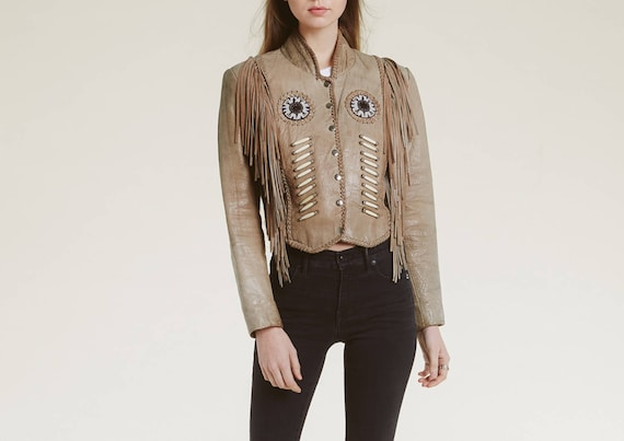 vintage native inspired fringe jacket