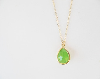 Peridot green necklace Crystal teardrop necklace Green bridesmaid necklace Gold green necklace Spring green jewelry set Apple green necklace