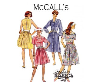 Fashion Basics McCall's 5936 Vintage inspired shirtwaist dress with back inverted pleat with opening option sleeveless Sizes 10 12 14