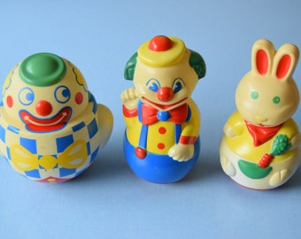 Choose tumbler / rabbit and clowns / retro French toy / 70s