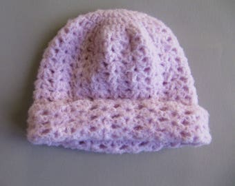 Hat, hand crocheted pastel pink glossy