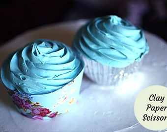 1 Fake cupcake for display, plus a free cupcake wrapper download. Light blue faux icing for kitchen decorations.