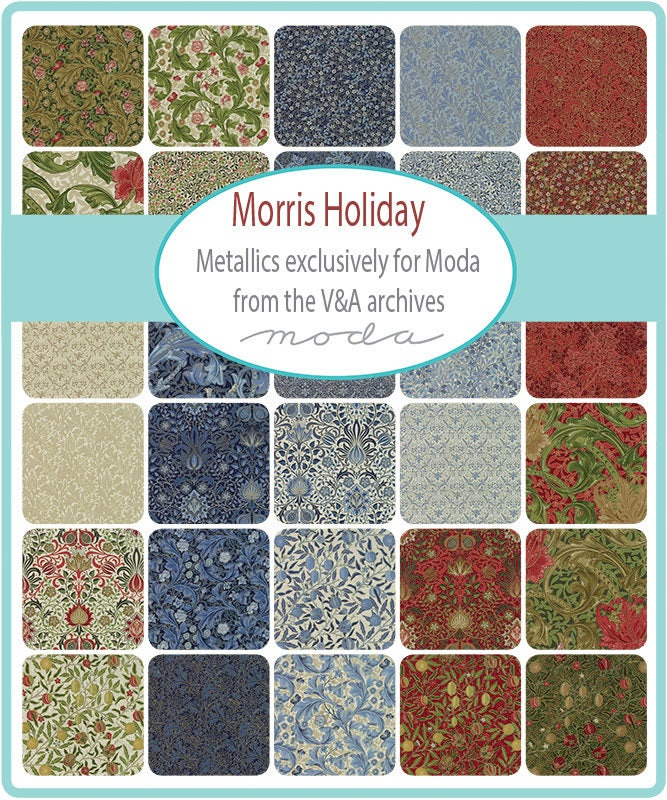 Morris Garden Charm Pack by V/&A; 42-5 Precut Fabric Quilt Squares