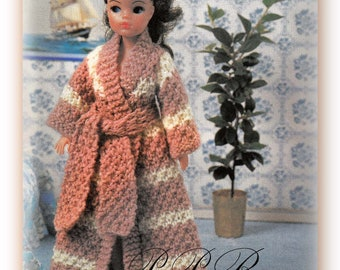 Knitted Doll's Clothes Pattern * Dressing Gown * PDF Pattern * Barbie Size * 11-13 inch Doll * Instant Download * Fashion Doll Outfit